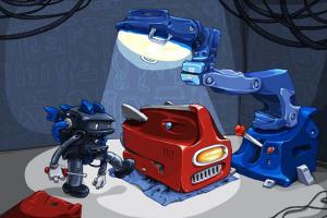 A robot fixing another robot